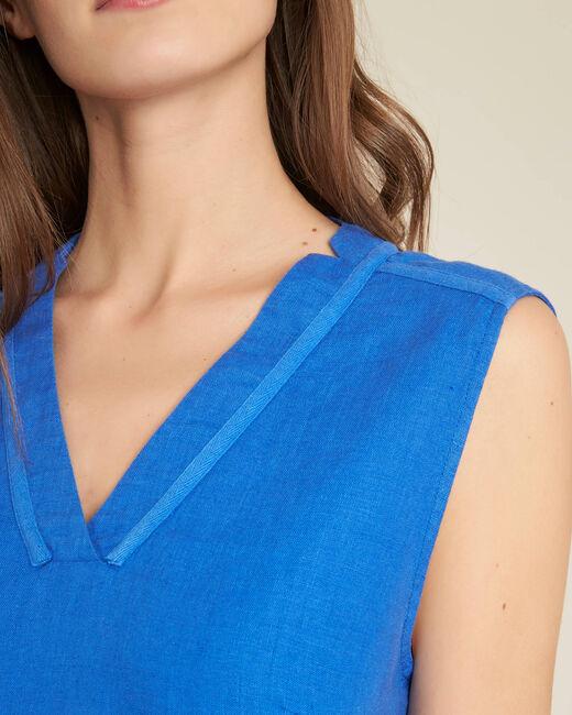 Robe bleu droite en lin Pim (1) - 1-2-3