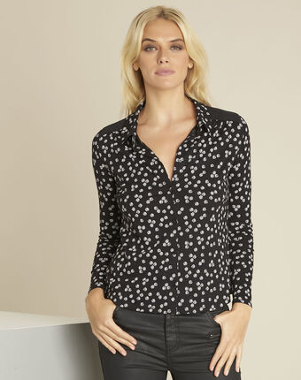 Garose black printed blouse black.