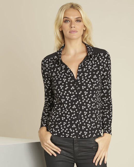 Zwart overhemd met print Garose (2) - 37653