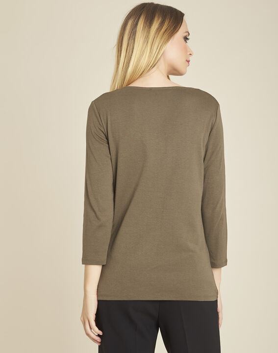 Galvani khaki T-shirt with golden neckline and 3/4 length sleeves (4) - Maison 123