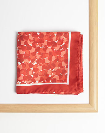 Angie silk heart print square scarf red.
