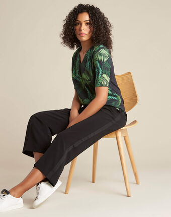 Miledine palm tree print dual-fabric blouse dark teal.