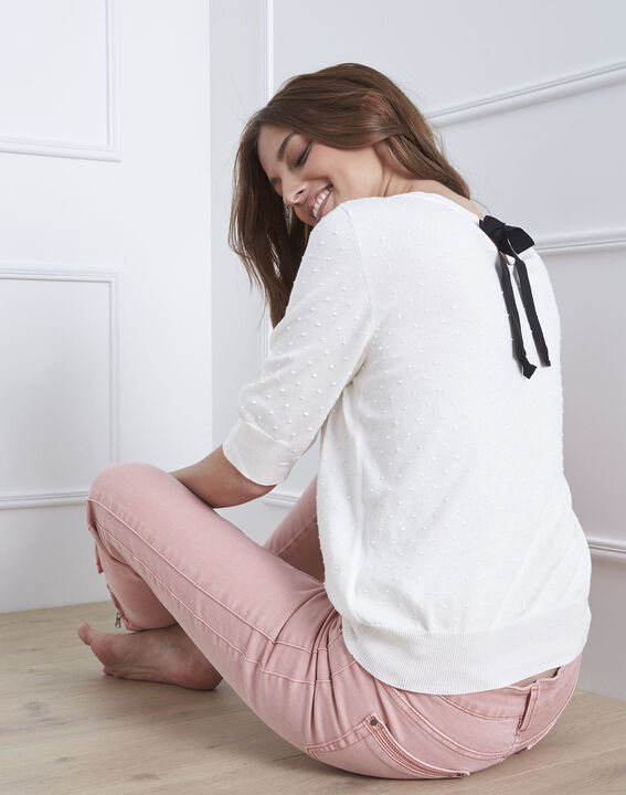 Gebrochen weißes T-Shirt mit Schleifendetail Adriana (4) - Maison 123