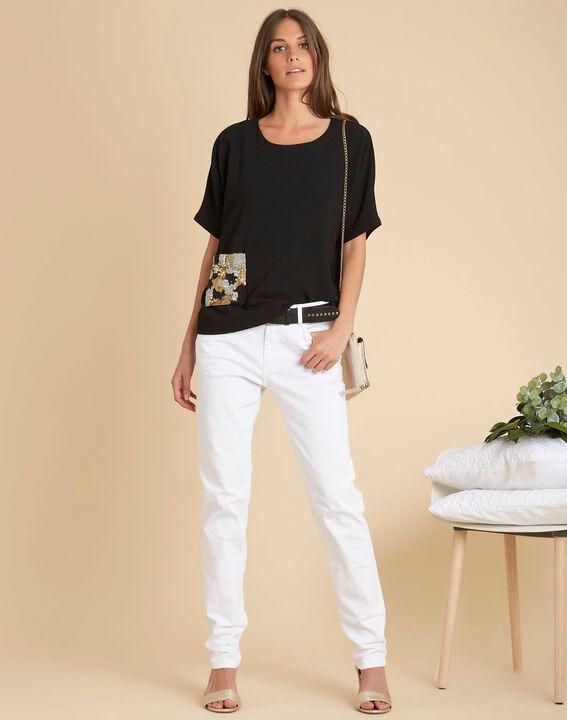 Schwarzes T-Shirt mit Perlentasche Gwen (2) - 1-2-3