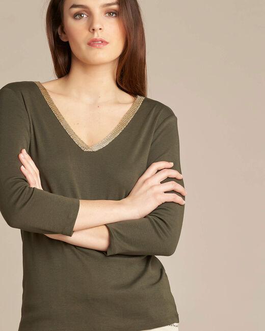 Tee-shirt kaki et doré manches 3/4 Etincellant (2) - 1-2-3
