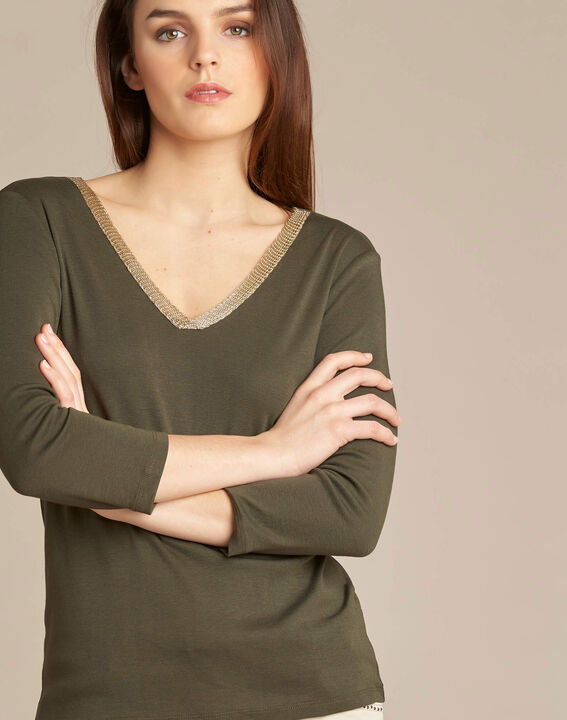 Etincellant khaki and gold T-shirt  with 3/4 length sleeves PhotoZ | 1-2-3