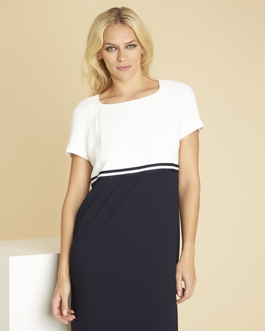 Dowen black and white dress in crêpe (2) - 1-2-3