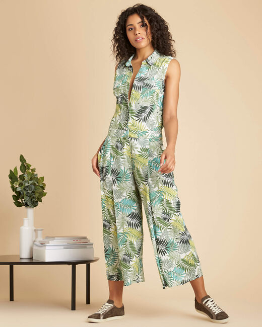 Paco ecru playsuit with palm print (2) - 1-2-3
