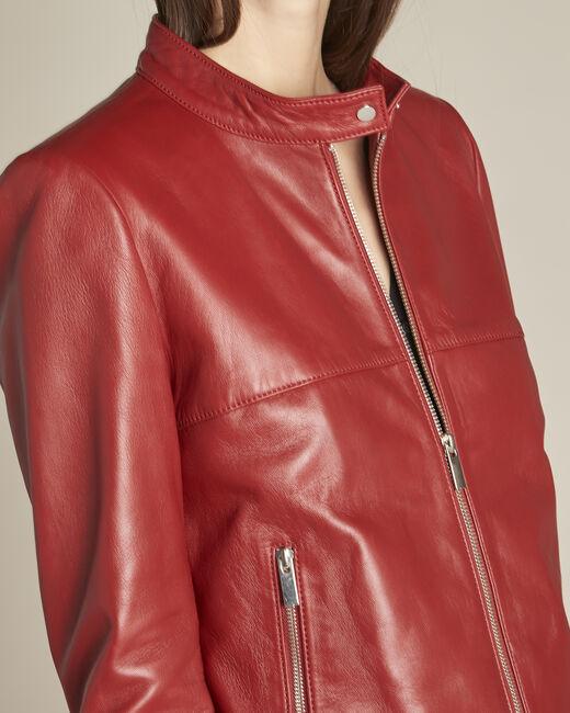 Veste rouge courte en cuir Tibo (1) - 1-2-3