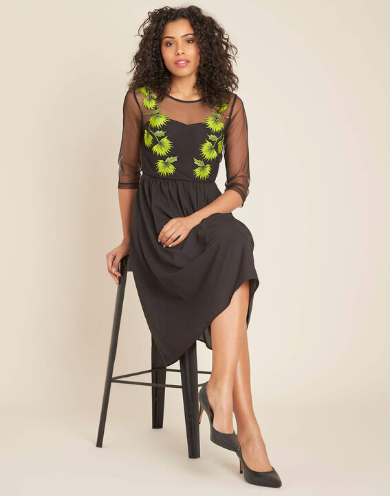 Ipnose black embroidered dress in tulle (2) - 1-2-3