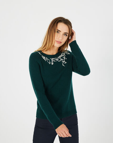 Perle forest green sweater with beading in a wool blend (2) - 1-2-3