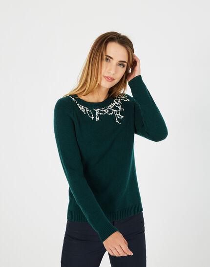 Waldgrüner Pullover aus Woll-Mix mit Perlen Perle (2) - 1-2-3
