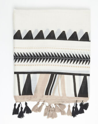 Schal mit azteken-druckmuster und pompons fago havanabraun.