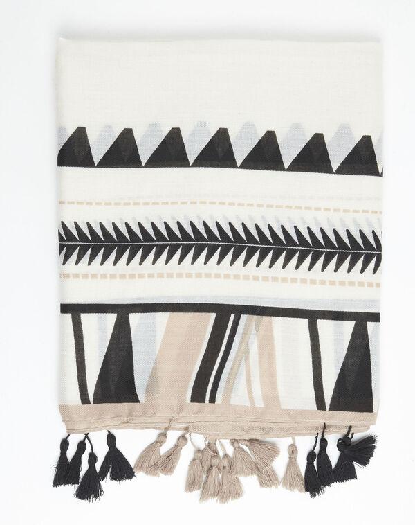 Sjaal met Azteekse print en pompons Fago (2) - 37653