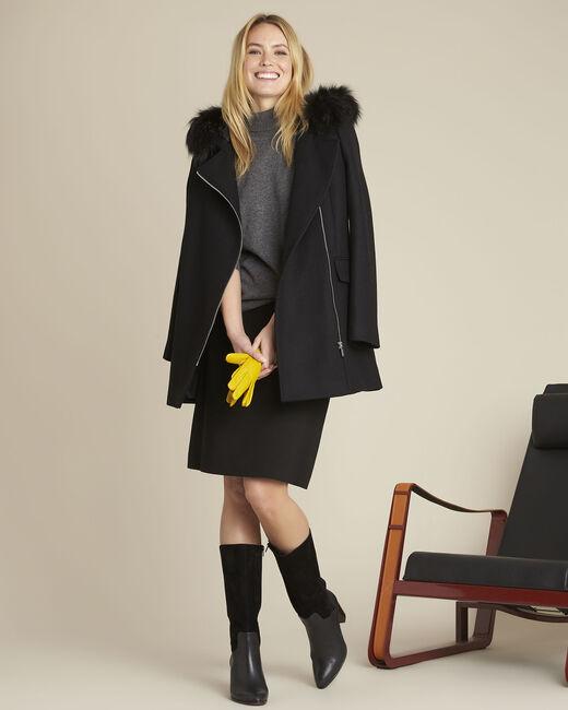 Manteau noir col perfecto en laine Oryane (1) - 1-2-3