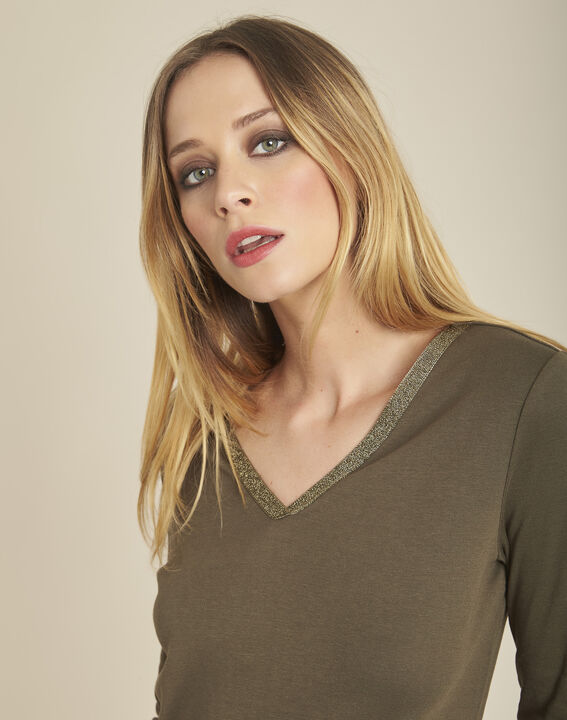 Galvani khaki T-shirt with golden neckline and 3/4 length sleeves (3) - Maison 123