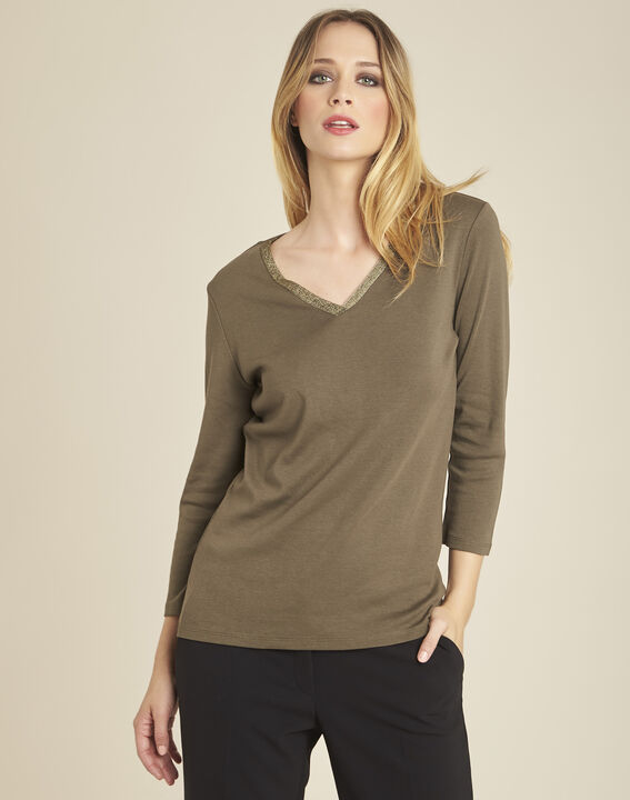 Galvani khaki T-shirt with golden neckline and 3/4 length sleeves PhotoZ | 1-2-3