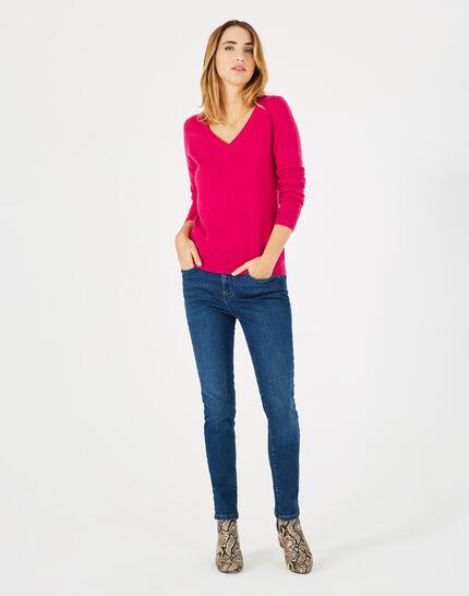 Pivoine fuchsia V-neck sweater in cashmere (1) - 1-2-3