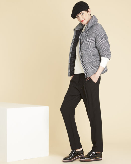 Grey down jacket printed with houndstooth check (1) - 1-2-3