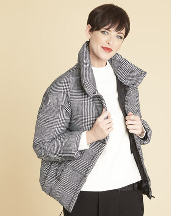 Grey down jacket printed with houndstooth check mid chine.