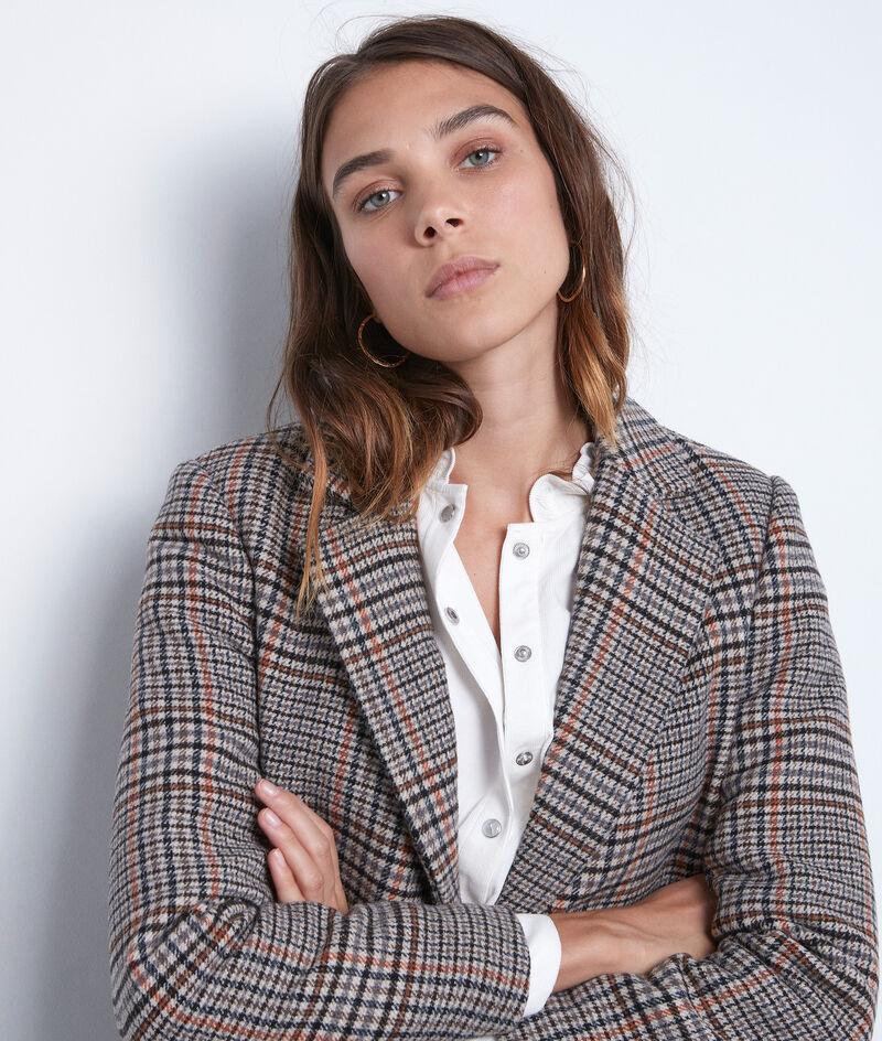 Manteau droit à carreaux beige Loulou PhotoZ | 1-2-3