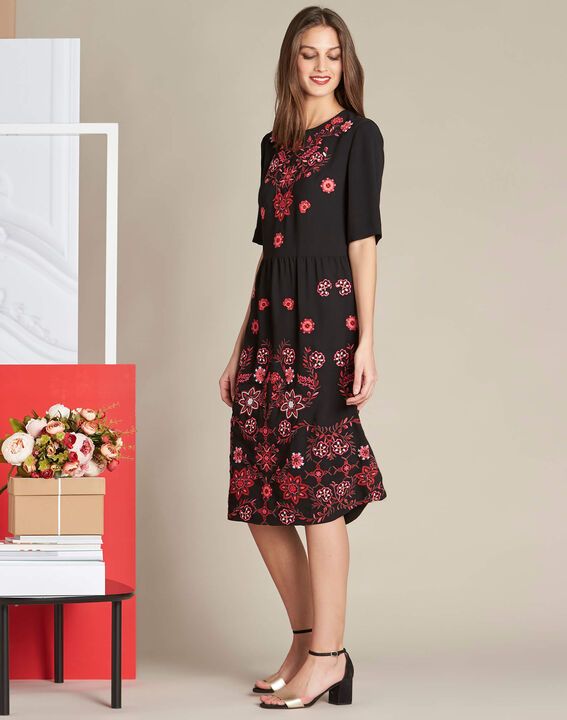 Pavlova mid-length black embroidered dress (3) - 1-2-3