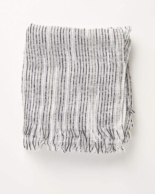 Foulard noir et blanc à rayures irrisées Aby (1) - 1-2-3