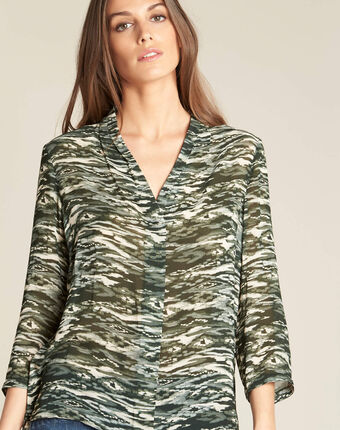 Khakifarbene bluse mit camouflage-print bianca kaki.