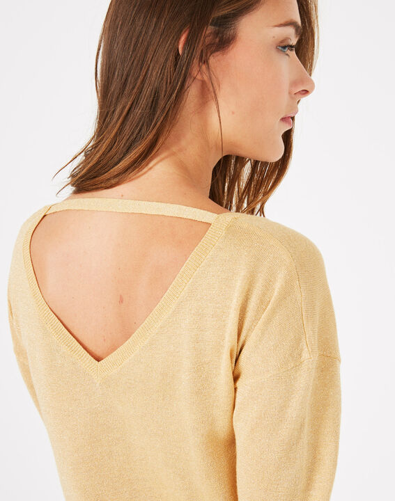 Phoenix shiny golden sweater with open back (4) - 1-2-3
