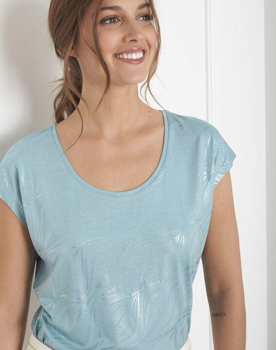 Tee-shirt bleu imprimé brillant Party (3) - Maison 123