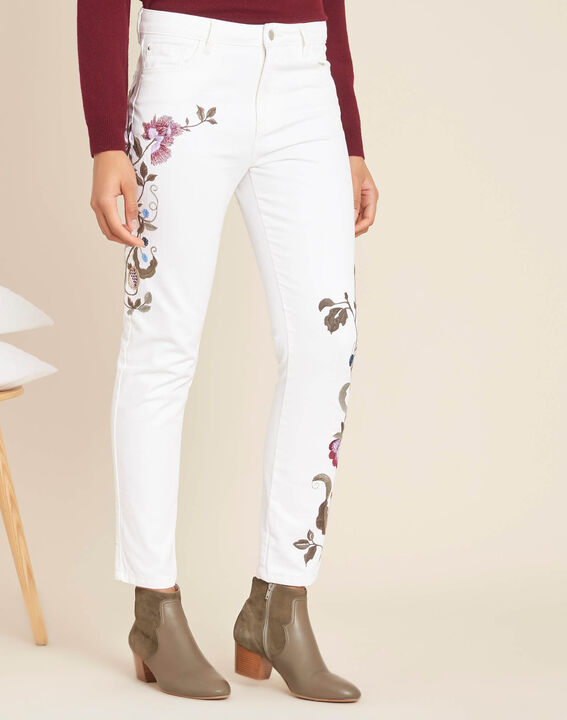 Vendôme white embroidered slim-cut 7/8 length jeans (3) - 1-2-3