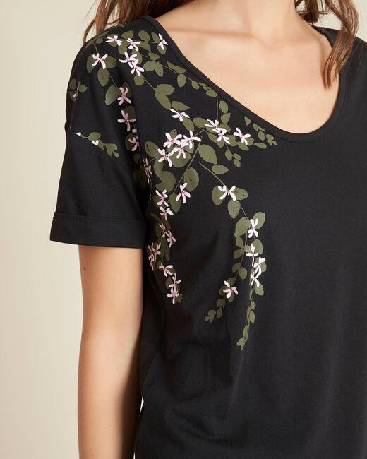 Schwarzes T-Shirt mit Blumenprint Erable (1) - 1-2-3