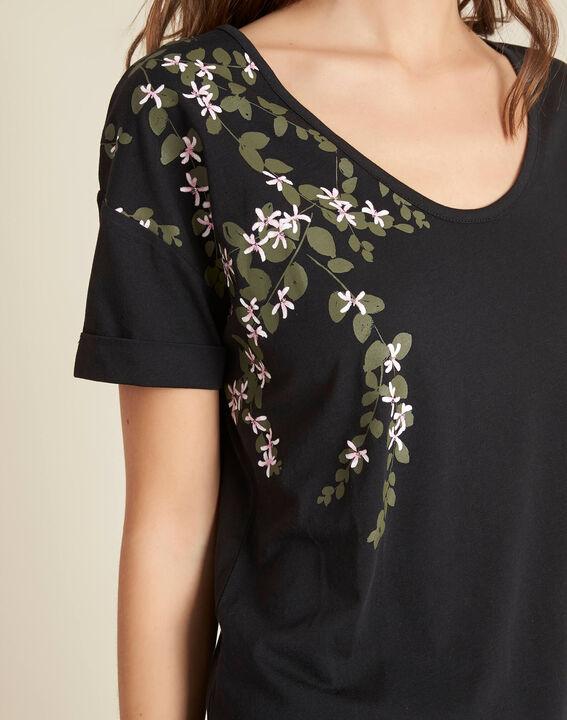 Schwarzes T-Shirt mit Blumenprint Erable PhotoZ | 1-2-3