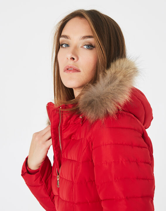 Rosie short red puffer jacket with hood (2) - 1-2-3