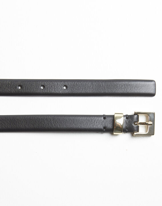 Quentin black leather belt with a gold tone buckle (3) - 1-2-3