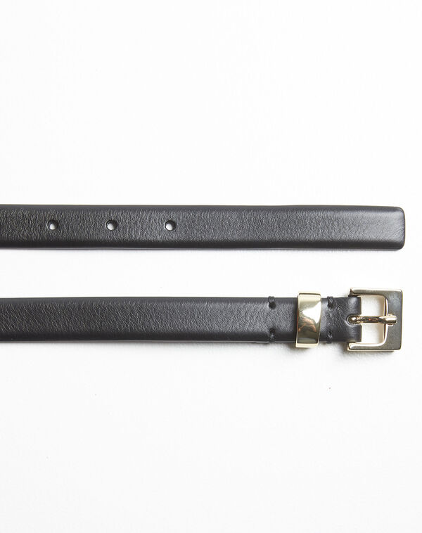 Quentin black leather belt with a gold tone buckle (2) - 1-2-3