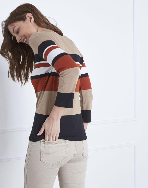 Tee-shirt marron rayé encolure V Gayure (4) - Maison 123