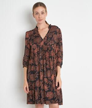 Robe courte imprimée noir et orange Lais