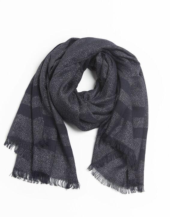 Donkerblauwe sjaal met strepen van lurex Fortune PhotoZ | 1-2-3