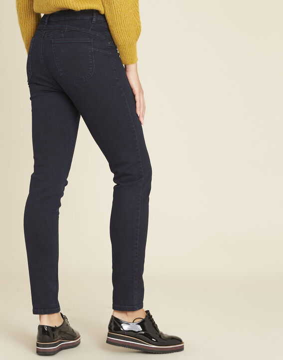 Marineblaue Slim-Fit-Jeans hohe Leibhöhe Honore (4) - 1-2-3