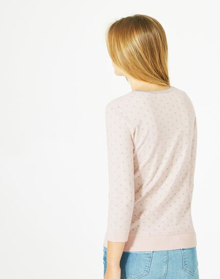 Prisme pale pink sweater with silver polka dot detailing and a rounded neckline (5) - 1-2-3