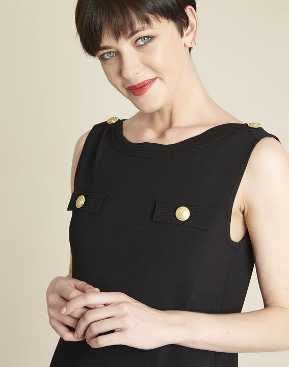 Brook black knit dress with gold-look buttons (2) - 1-2-3