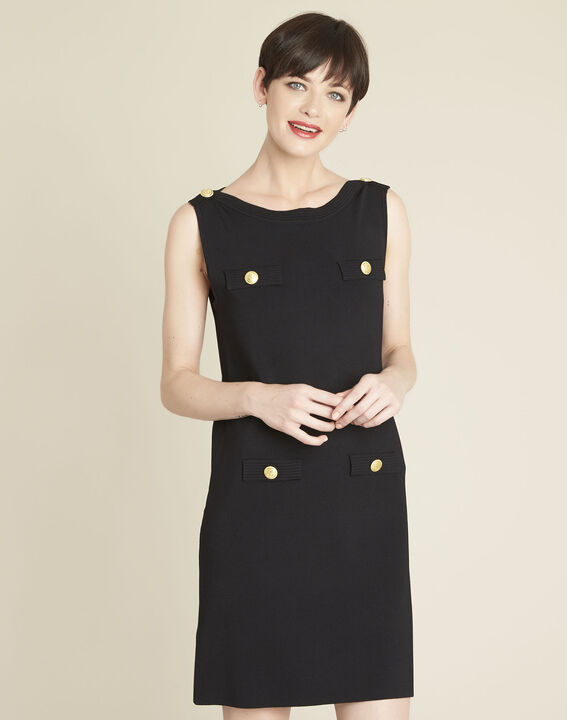 Brook black knit dress with gold-look buttons PhotoZ | 1-2-3