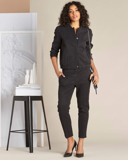 Suzanne black jacquard tapered trousers (1) - 1-2-3