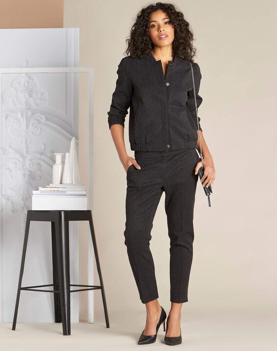 Pantalon cigarette jacquard noir Suzanne (2) - 1-2-3