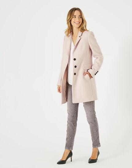 Puderfarbener Mantel aus Woll-Mix Plume (2) - 1-2-3