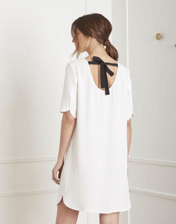 Robe écrue en crêpe détail noeud Liesse (4) - Maison 123