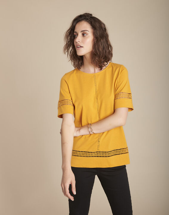 Tee-shirt jaune en dentelle Cadix PhotoZ   1-2-3