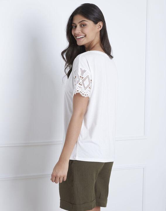 Naturfarbenes Spitzen-T-Shirt mit Ärmeln Podgorica (4) - Maison 123