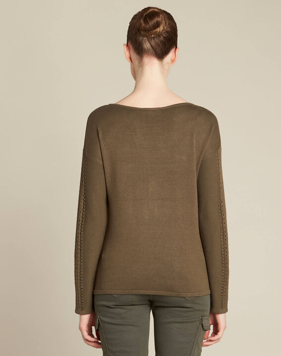 Nefle khaki sweater with openwork neckline (4) - 1-2-3